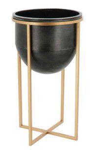 Cachepô Tobias com Pé 60*32 Cm Metal Dourado e preto