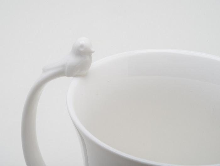 Caneca Porcelana Birds Branco 350 ml - Wolff