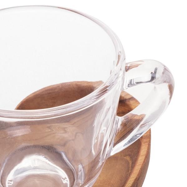 Cj 2 Xícaras Café Pires e Suporte Madeira Teca Coração 75ml