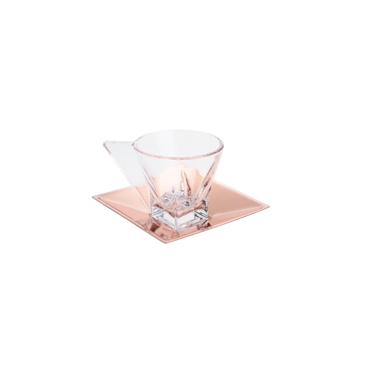 Cj 6 Xícaras de Vidro p/ café c/ pires Rose Gold 70 ml