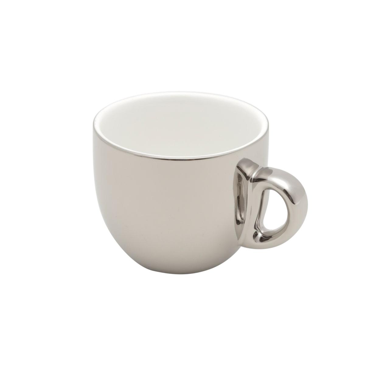 Cj 6 Xícaras Porcelana café c/ pires e Suporte Prata 90ml