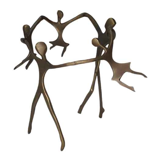 Escultura Ciranda Bronze Casal com 3 Meninas