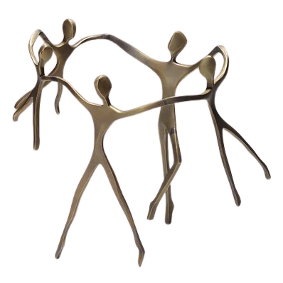 Escultura Ciranda Bronze Casal com 3 Meninos