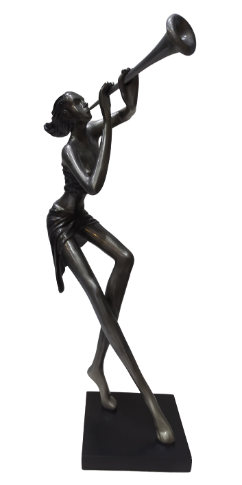 Escultura Corneta Woman Prata
