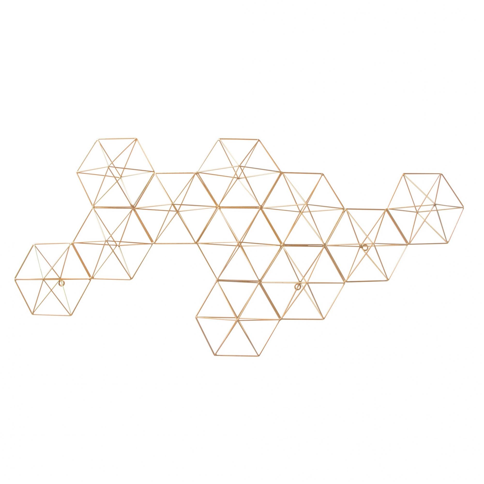 Escultura de Parede Metal Dourado Hexágono