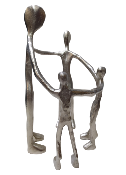 Escultura Familia Roda Em AlumÍnio Prateada