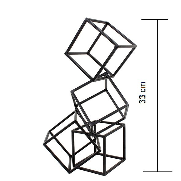 Escultura Geométrica Cubos Preta 33 cm