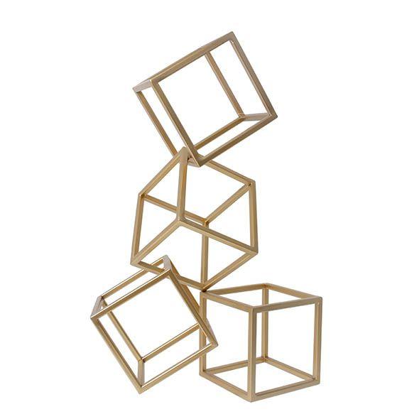 Escultura Geometrica Dourada 33 cm HC19316