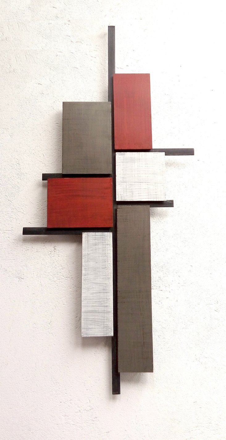 Escultura Parede Build Vermelha Cinza