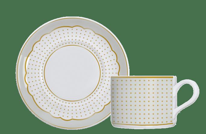 Jogo 12 Pçs Xícara Chá c/ pires Royal Off White