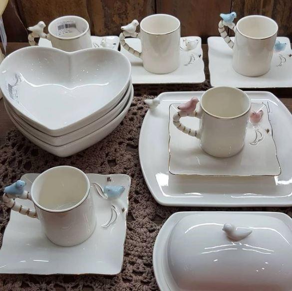 Jogo 3 Petisqueiras Porcelana Coração