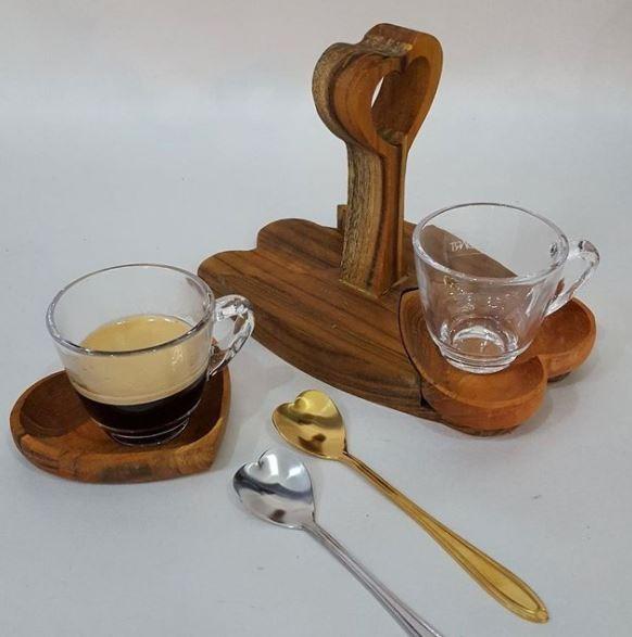 Jogo 4 Colheres Chá Aço Inox Coração Prateado