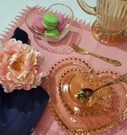 Jogo 4 Colheres Crown p/ Chá Aço Inox Dourado