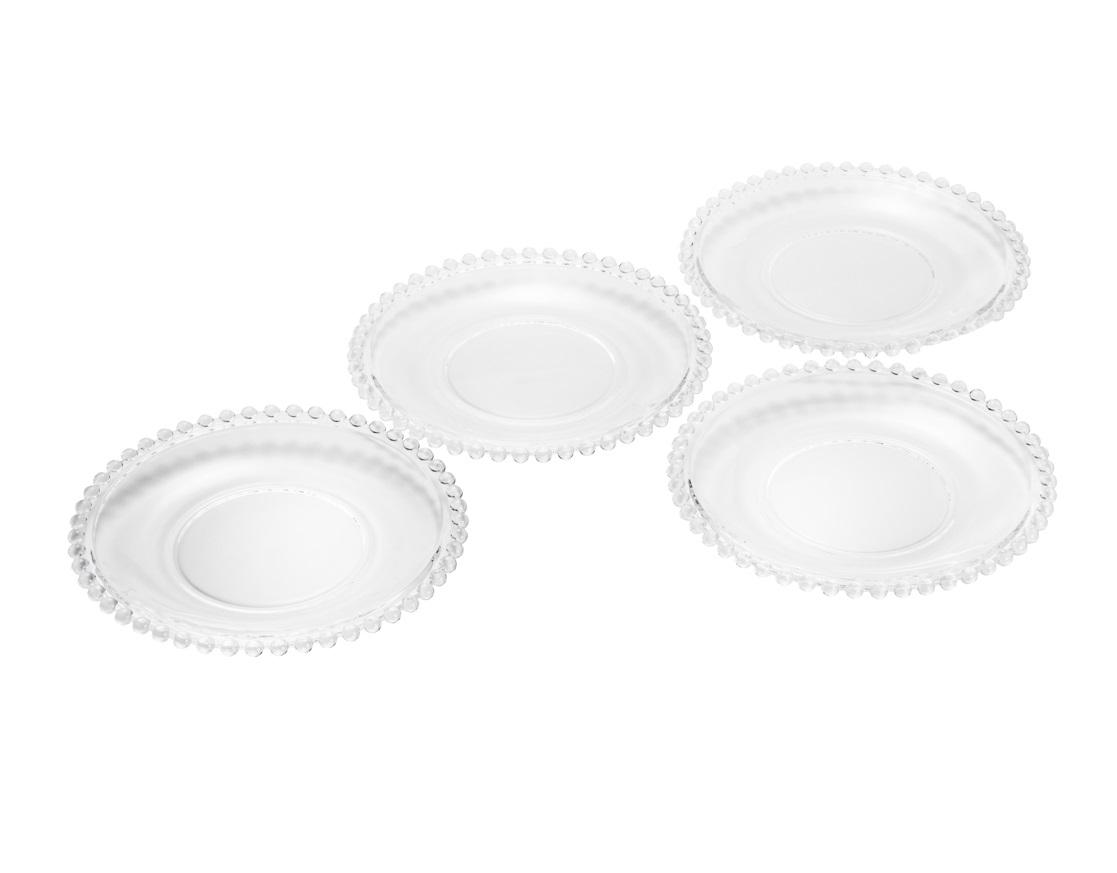 Jogo 4 Pratos Pearl Cristal Sobremesa 20 cm