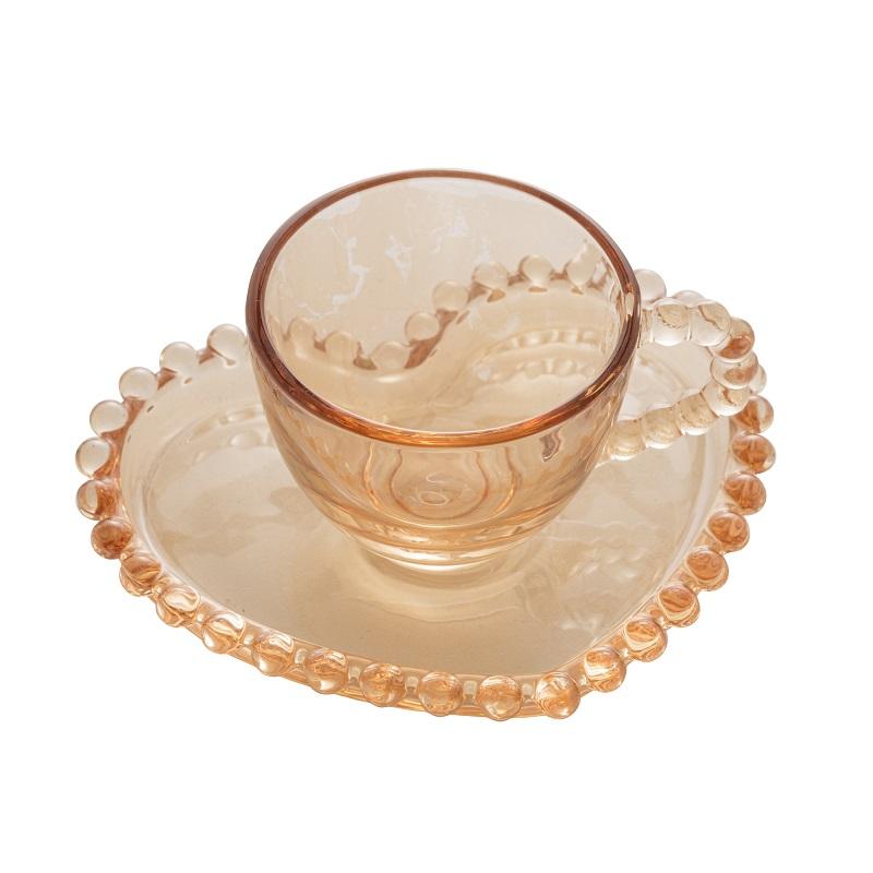 Jogo 4 Xícaras Café Coração Pearl Cristal Âmbar 85 ml