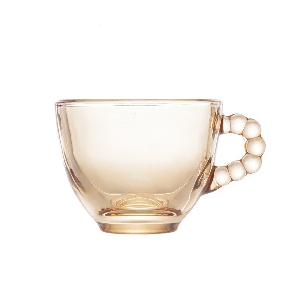 Jogo 4 Xícaras Café Cristal de Chumbo Pearl Âmbar 80 ml