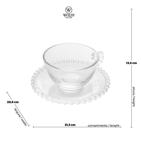 Jogo 4 Xícaras Pearl Chá Cristal 180 ml