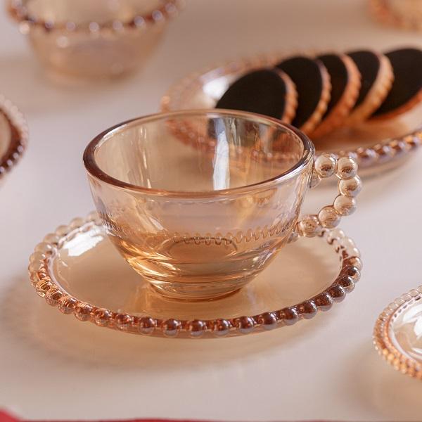 Jogo 4 Xícaras Pearl Chá Cristal Âmbar 180 ml