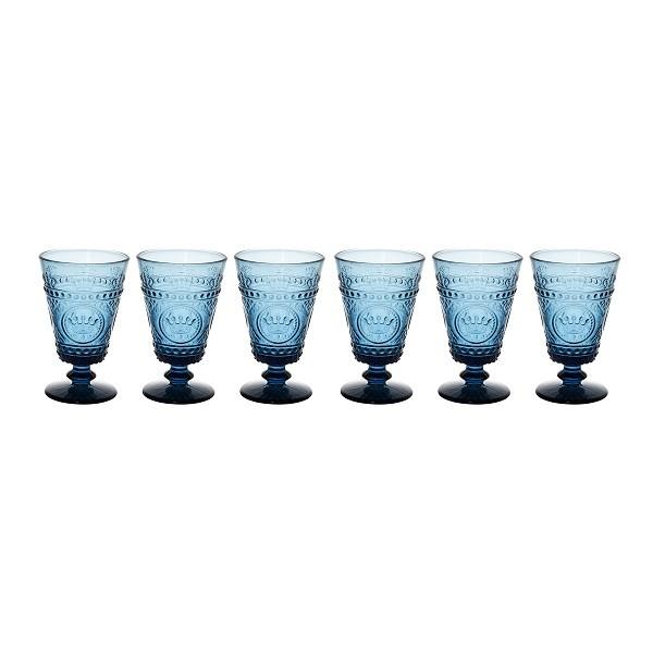 Jogo 6 Taças Água Crown Azul 430 ml