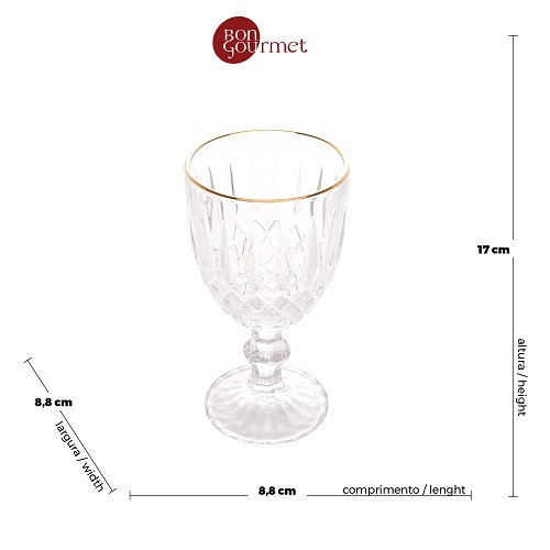 Jogo 6 Taças p/ Água Greek - Vidro Fio Dourado - 345 ml