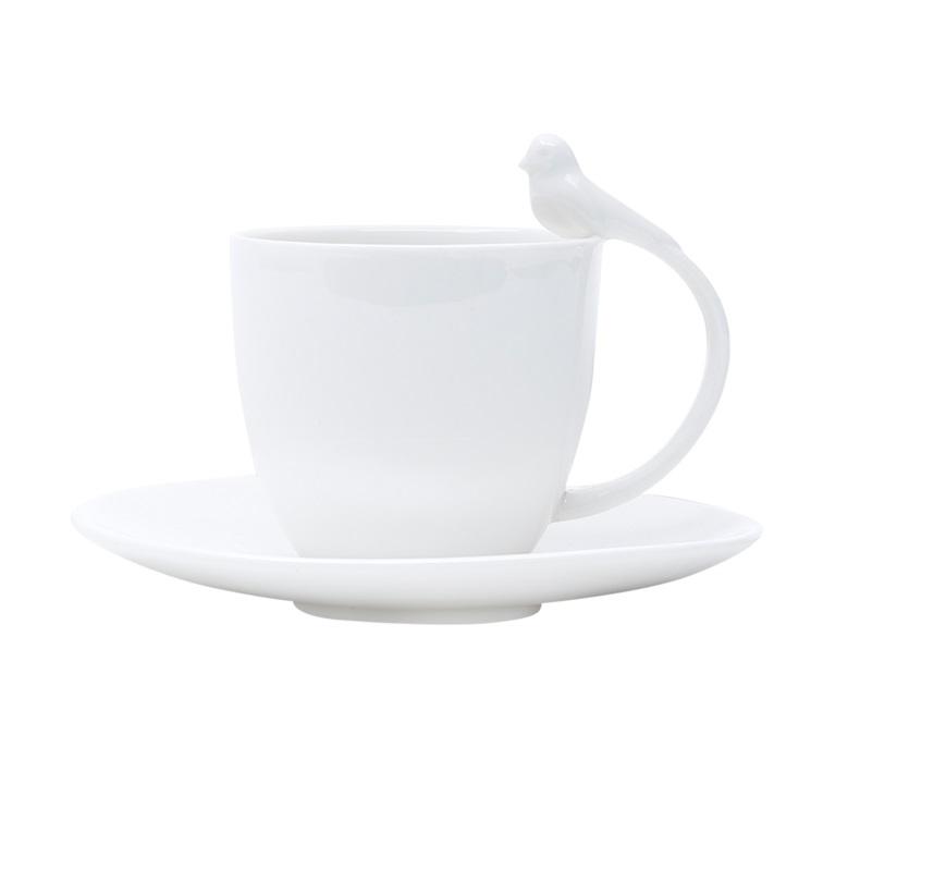 Jogo 6 Xícaras Birds Café Porcelana Branca 85 ml