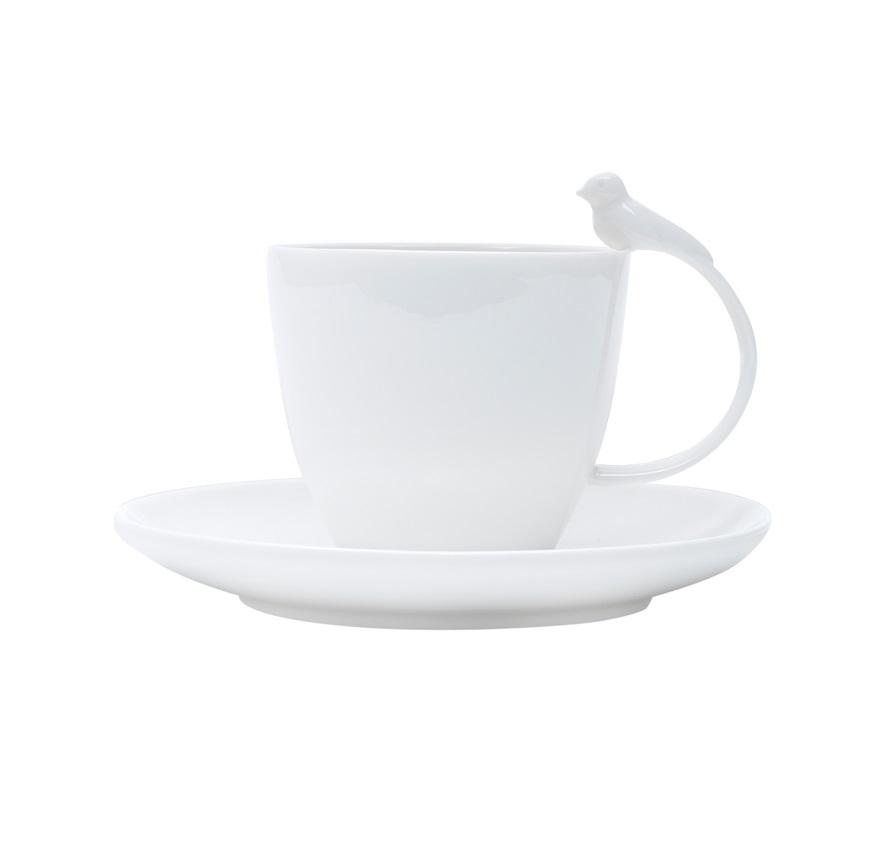 Jogo 6 Xícaras Birds Chá Porcelana Branca 200 ml