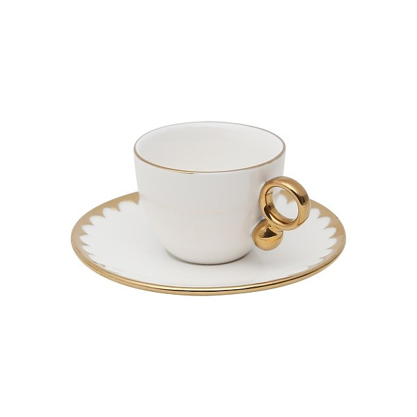 Jogo 6 Xícaras Café Porcelana com pires Egg 90 ml