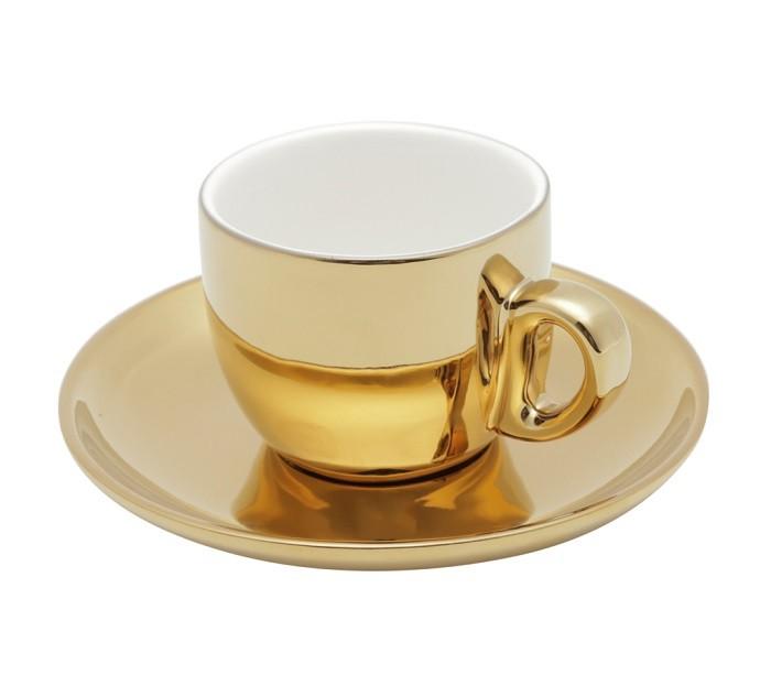 Jogo 6 Xícaras Café Versa Porcelana -  Pires e Suporte Branco/dourado 90 ml