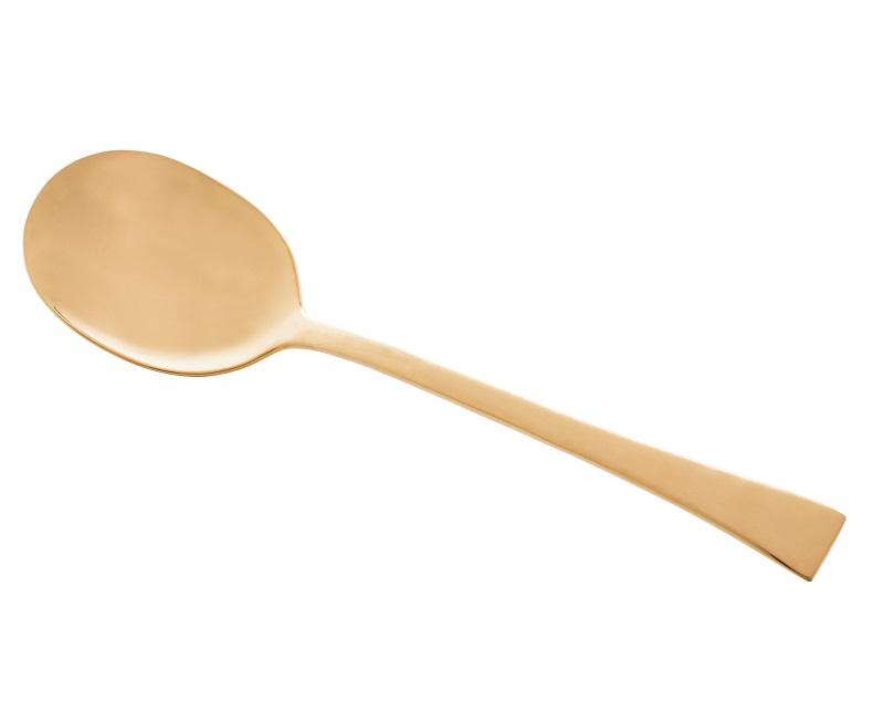 Jogo Berna 2 pç Colher e Garfo p/ Salada Aço Inox Dourado