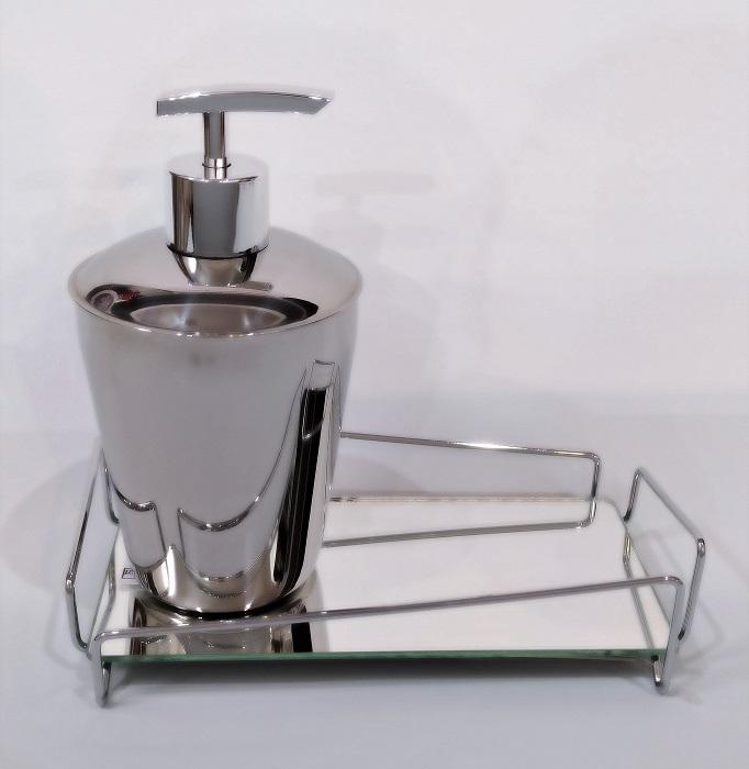 Lavabo Prateado - Bandeja|Saboneteira | Vasinho Cristal