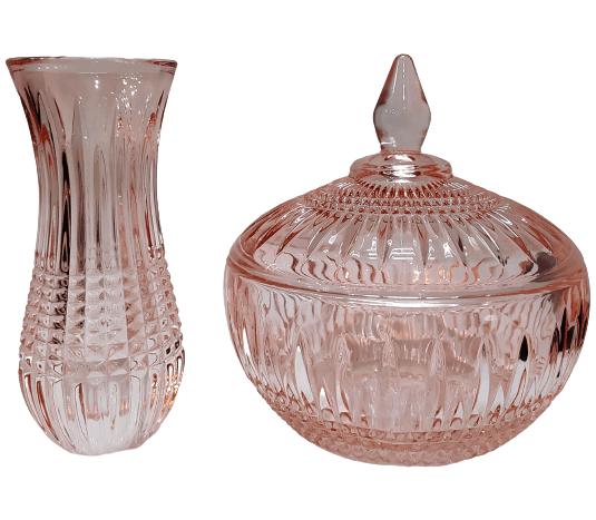 Kit Rosa - Mini Vaso e Potiche sem pé Cristal