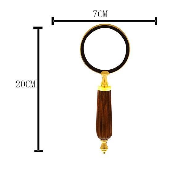 Lupa Decorativa metal e madeira Dourada 20 x 7 x 2 cm