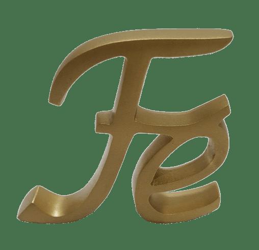 Palavra FÉ Cursiva Color Ouro 3619c