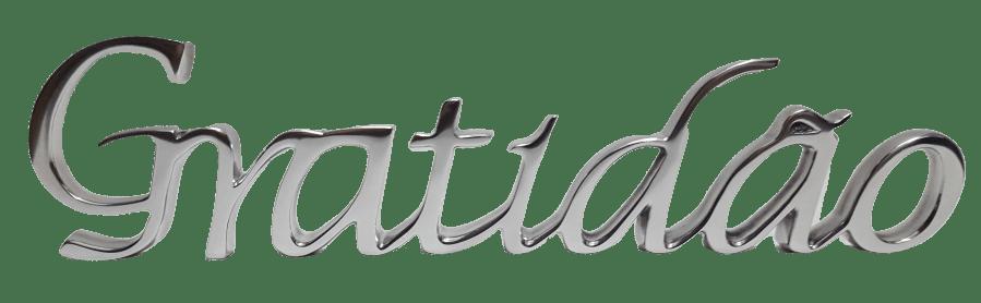 Palavra Gratidão Prata 1358