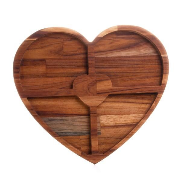 Petisqueira Coração Madeira Teca 37 x 33 x 2 cm