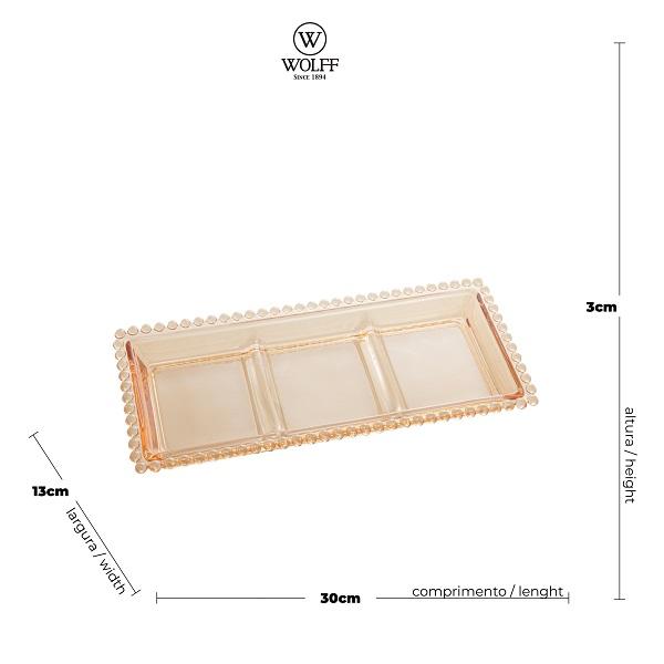 Petisqueira Cristal com 3 Divisões Pearl Âmbar - Wolff