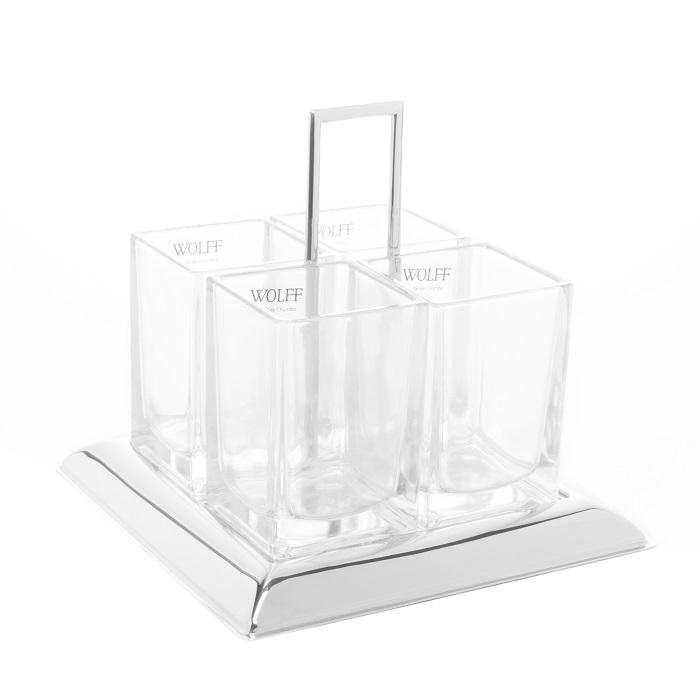 Porta Talheres de Cristal e Aço Inox Torcello 24 x 22 cm