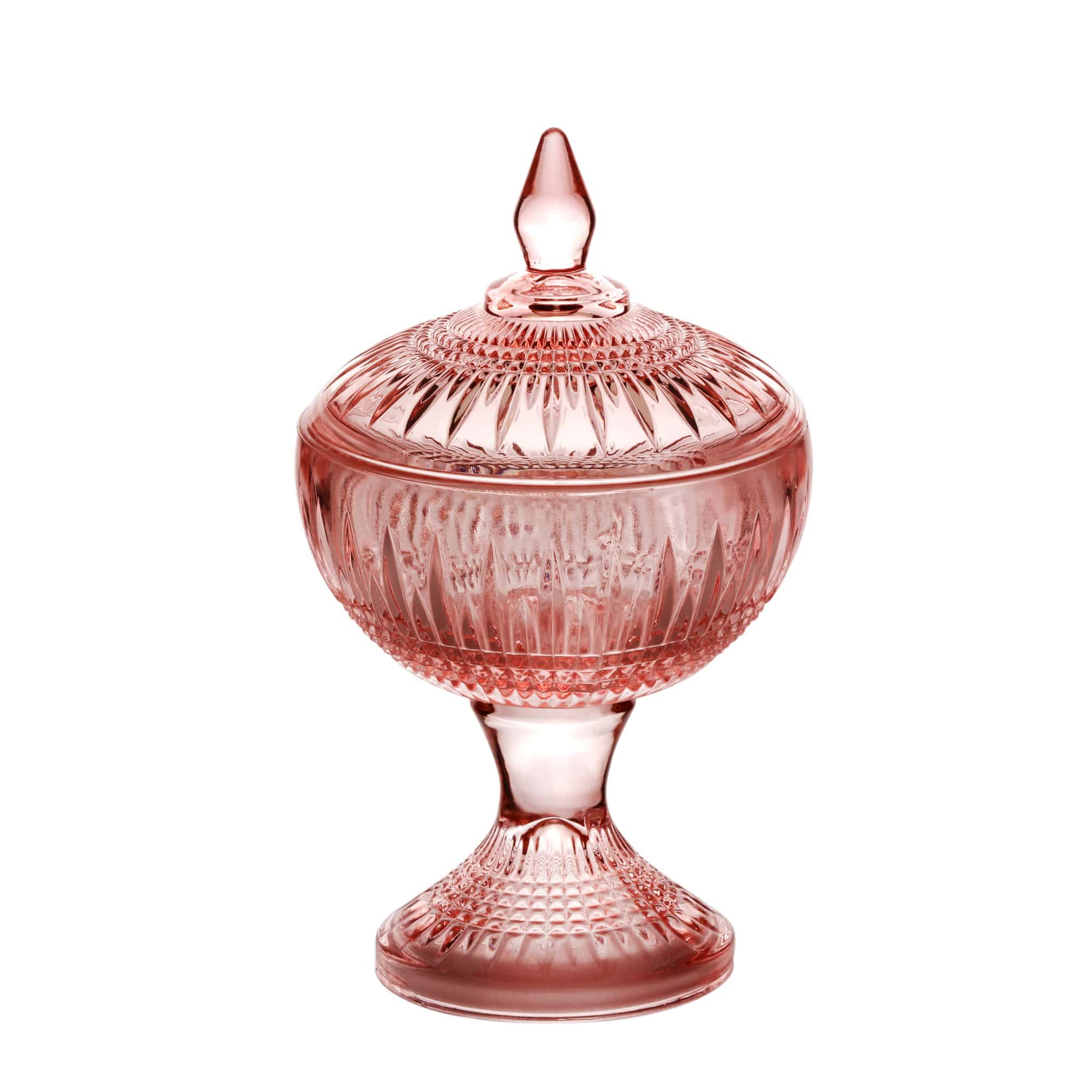 Potiche com pé Cristal de Chumbo Rosa 11 x 18 cm