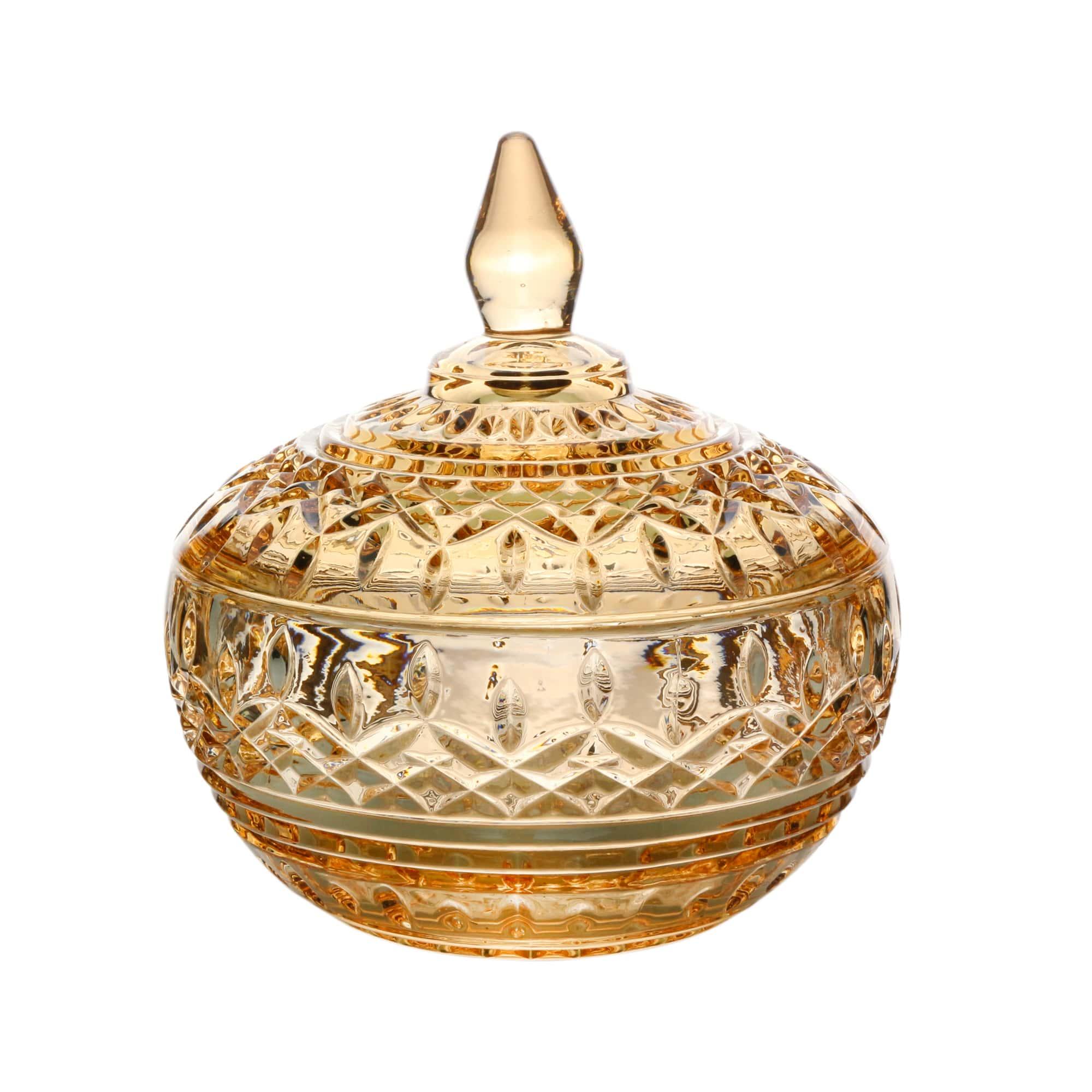 Potiche Cristal de Chumbo Âmbar 11 x 12 cm