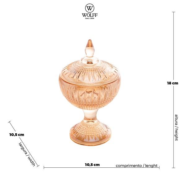 Potiche Queen com pé Decorativo Cristal Âmbar 11 x 18 cm