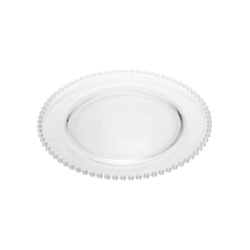 Prato de Jantar Cristal Pearl Incolor 28 cm - Wolff