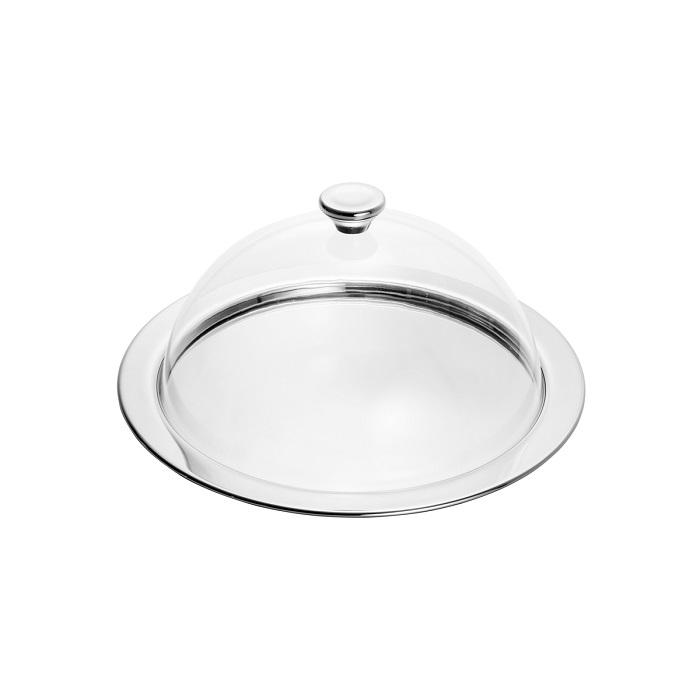 Prato para Bolo c/ Tampa - Aço Inox Acrílico - 32 cm