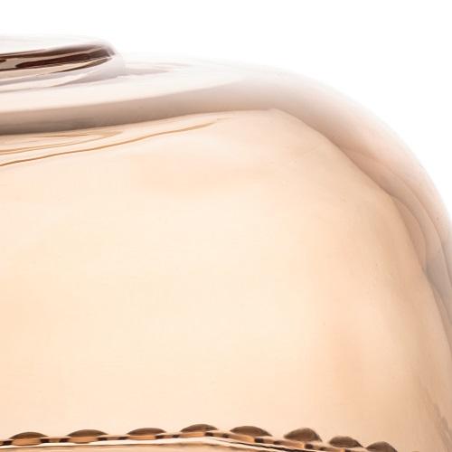 Prato para Bolo Cristal com Pé e Tampa Pearl Âmbar 31 x 25 cm - Wolff