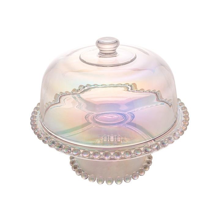 Prato para Bolo Cristal com Pé e Tampa Pearl Rainbow 31 x 25 cm - Wolff