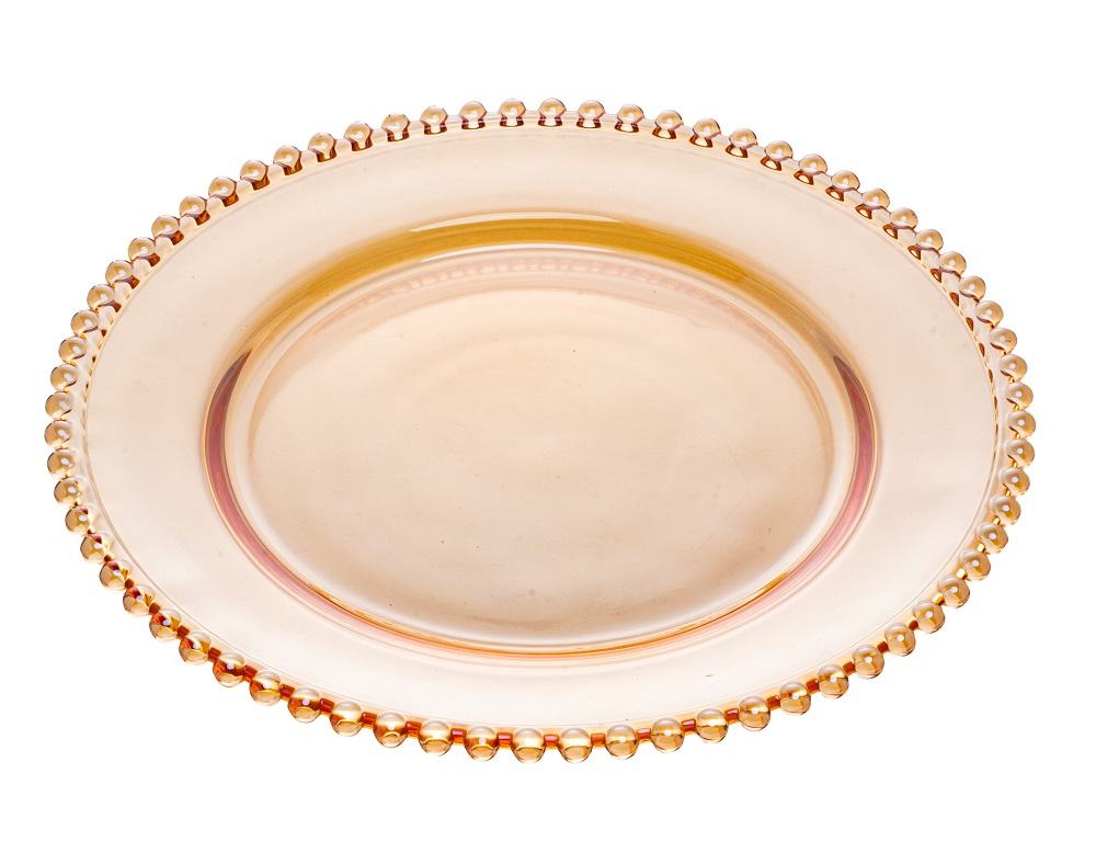 Prato Pearl Cristal Âmbar 28 cm