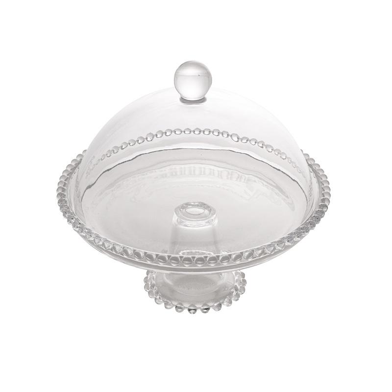 Prato Pearl Cristal c/ Pé e Tampa 20 x 18 cm