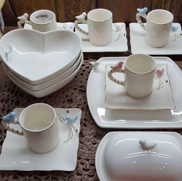 Prato Porcelana para Pão Birds Branco