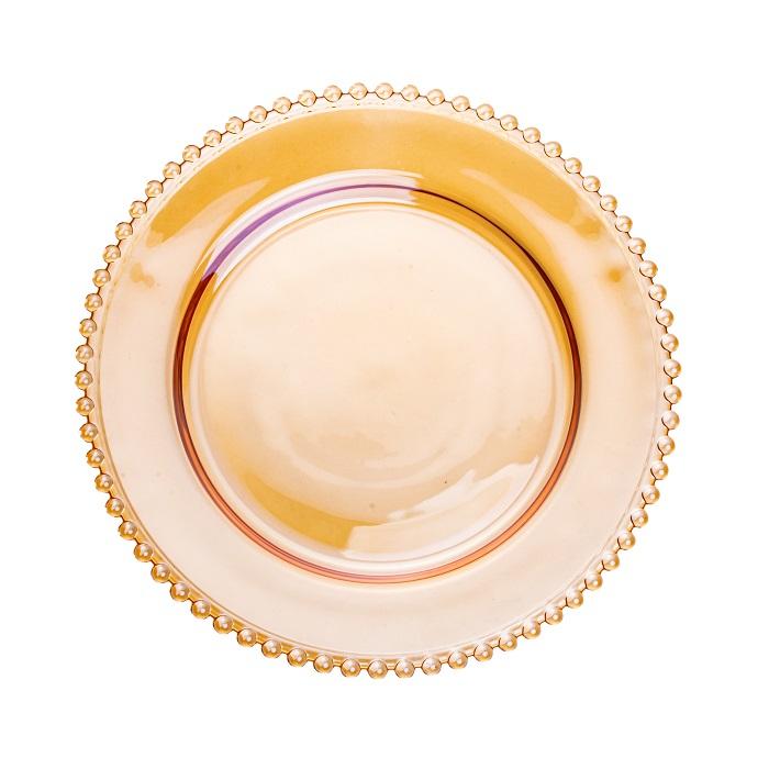 Sousplat Pearl Cristal Âmbar 32 cm
