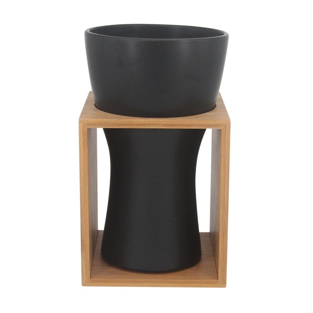 Vaso Decorativo Cerâmica Preta e Bambu