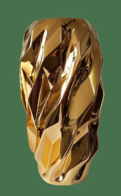 Vaso Plissan Geométrico Ouro Grande